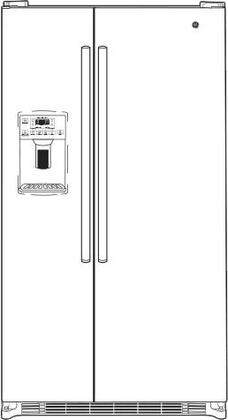 """GE GSS25GXHXX 36"""" Side-By-Side Refrigerator with 25.4 cu. ft. Total Capacity, Integrated Shelf Support System, Arctica Icemaker, Adjustable Door Bins and Door Storage, in"""