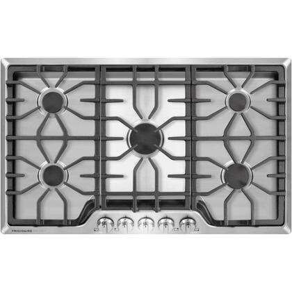 """Frigidaire FGGC3645Q 36"""" Gas Cooktop with 450-18,000 BTU 5 Sealed Burners, Continuous Corner-to-Corner Grates, SpillSafe Cooktop, Angled Front Controls, and Electronic Pilotless Ignition in"""