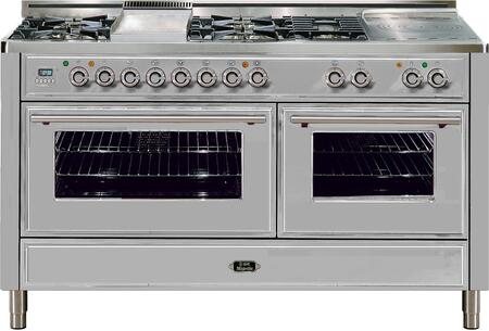 """Ilve UMT150FSDMP 60"""" Freestanding Dual Fuel Range with 5 Sealed Burners, French Cooktop, Griddle, 2 Convection Ovens, 5.99 cu. ft. Total Capacity, Electronic Timer and Clock, and Warming Drawer"""