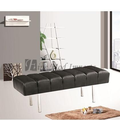 Fine Mod Imports FMI2206BLACK Accent Armless Stainless Steel Leather Bench