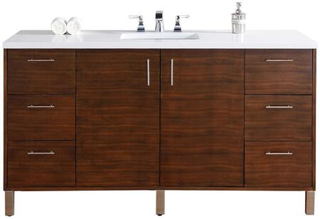 "James Martin Metropolitan Collection 850-V60S-AWT- 60"" American Walnut Single Vanity with Two Soft Close Doors, Six Soft Close Drawers, Chrome Hardware and"
