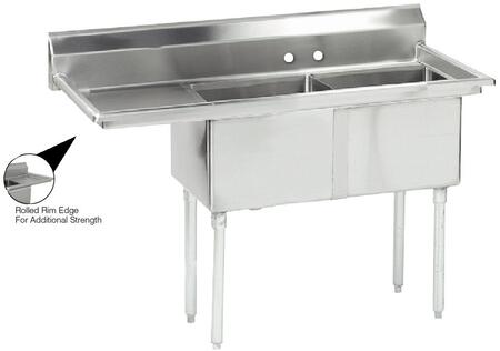 "Advance Tabco FE-2-1620 Lite Series Two-Compartment Fabricated Sink with 16"" x 20"" Bowl and Backsplash in Stainless Steel"