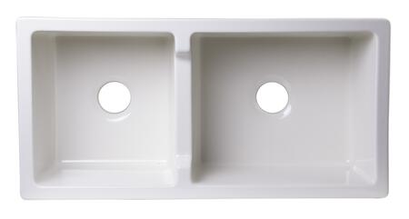 """Alfi AAB3618DB-XX 36"""" Smooth Apron Thick Wall Double Bowl Farm Sink with Fireclay and Non-Reversible in"""