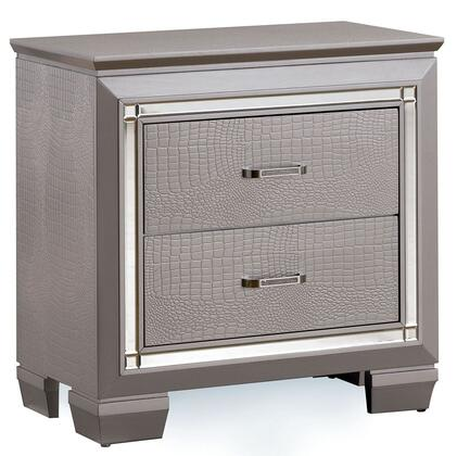 Furniture of America Bellanova CM7979NX Night Stand with Contemporary Style, Crocodile-Textured Detail, Felt-lined Top Drawers, Diamond Crusted Bar Pull Handles