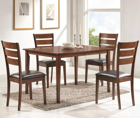 Coaster Shasta 15001 5 PC Dining Room Set with 4 Ladderback Chairs, Rectangular Table, Leatherette Seat Upholstery, Okume Veneer, Asian and Tropical Wood Construction in