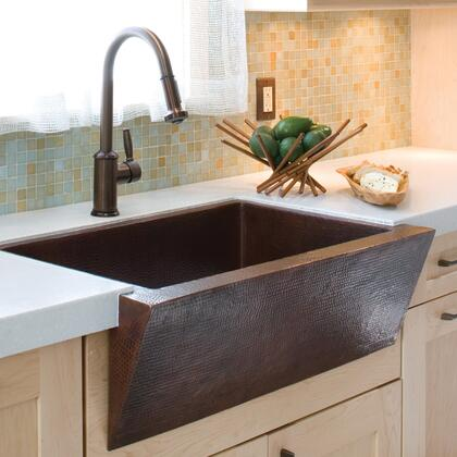 "Native Trails Copper Kitchen Sinks Collection 33"" Zuma Kitchen Sink with 3.5"" Drain Opening, Single Bowl, Apron Front Installation and Recycled Copper Material in"