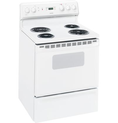 Hotpoint RB536DPWW  Electric Freestanding Range with Coil Element Cooktop, 5.0 cu. ft. Primary Oven Capacity, Storage in White