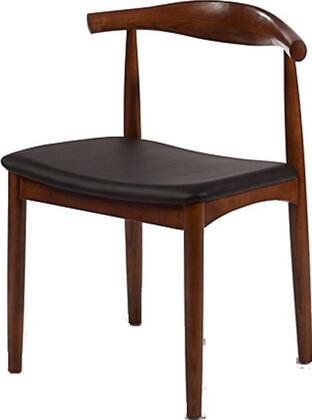 Fine Mod Imports FMI10035WALNUT Hansen Series Modern Leather Wood Frame Dining Room Chair