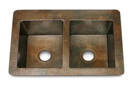 D'Vontz KS23322 Double Bowl 50/50 Hammered Copper Kitchen Sink With 77% Recycled Copper, 99% Pure Copper & In
