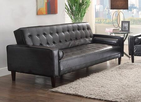 """Glory Furniture G84X-S 85"""" Sofa Bed with Track Arms, PU Leather Upholstery, Button Tufted Details and Tapered Legs in"""