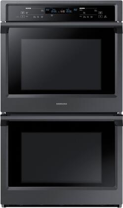 """Samsung NV51K6650D 30"""" Double Wall Oven with 10.2 cu. ft. Total Capacity, Dual Fan True Convection, Steam Cooking, Backlit Touch Controls and Wifi, in"""