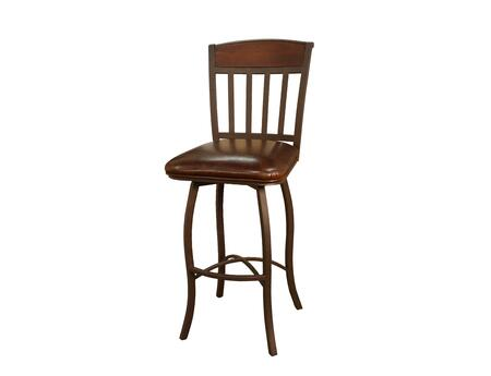 """American Heritage Lancaster Series 1XX707GS-L32 Traditional Stool with Uniweld Metal Construction, 3"""" Cushion, and Adjustable Floor Glides in Ginger Spice Finish with Bourbon Leather"""