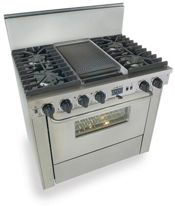 """FiveStar TTN3377BW 36""""  Stainless Steel Dual Fuel Freestanding Range with Sealed Burner Cooktop, 3.69 cu. ft. Primary Oven Capacity,"""