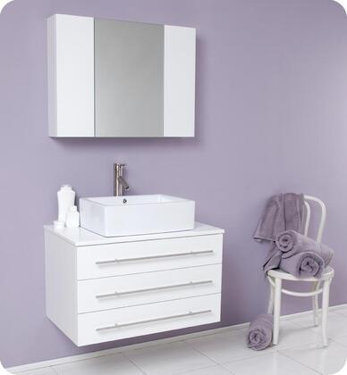 """Fresca Modello Collection FVN6183 32"""" Modern Bathroom Vanity with Marble Countertop, Ceramic Vessel Sink and 3 Soft Closing Drawers in"""