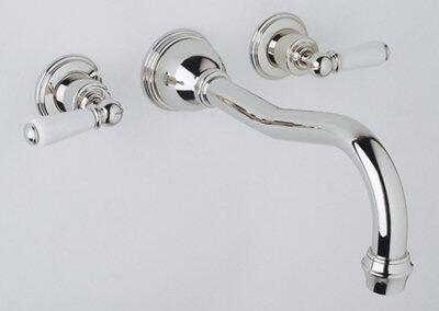 Rohl U.3780L- Perrin and Rowe Collection 3-Hole Traditional Country Spout Wall Mounted Bathtub Filler with Lever Handles: