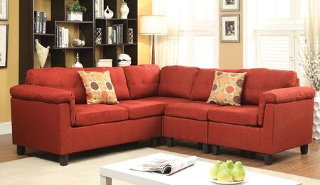 Acme Furniture 5145 Cleavon Reversible Sectional Sofa with 2 Chairs, Wedge, Loveseat, Accent Pillows, Wood Frame and Fabric Upholstery in