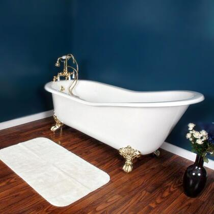 "Cambridge ST677DH Cast Iron Slipper Clawfoot Tub 67"" x 30"" with 7"" Deck Mount Faucet Drillings"