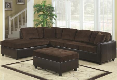 Coaster 503013 Henri Series Sofa and Chaise Faux Leather Sofa