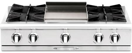 """Capital CGRT362G2N 36"""" Culinarian Series Gas Open Burner Style Cooktop, in Stainless Steel"""