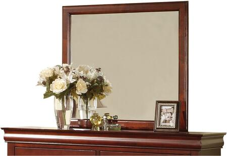 """Acme Furniture Louis Philippe III 36"""" x 38"""" Rectangle Mirror with Beveled Edge, Solid Rubberwood and Gum Veneer Materials in"""