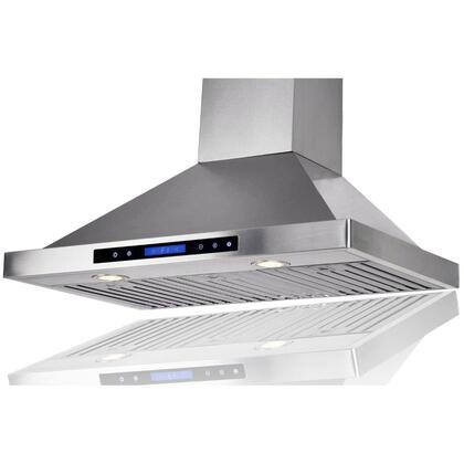 "Golden Vantage GWRB236 36"" Wall Mounted Range Hood with 760 CFM, 65 dB, Innovative Touch, Halogen Lighting, 3 Fan Speed, Stainless Steel Baffle Filter, Remote Control and X: Stainless Steel"