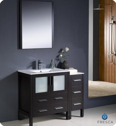 """Fresca Torino Collection FVN62-3012XX-UNS 42"""" Modern Bathroom Vanity with Side Cabinet, Integrated Sink and Mirror in"""
