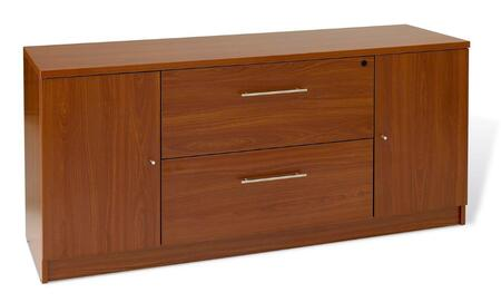 "Unique Furniture 100 Collection 63"" Storage Credenza with 2 Drawers, 2 Doors, Central Locking System, High Pressure Melamine, Medium-Density Fiberboard (MDF) Materials and Open Grain Finish in"