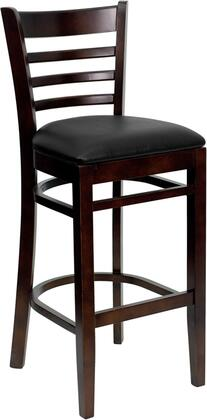 "Flash Furniture HERCULES Series XU-DGW0005BARLAD-WAL-XXV-GG 31"" Heavy Duty Walnut Finished Ladder Back Wooden Restaurant Bar Stool with Vinyl Seat and Solid European Beech Hardwood Construction"