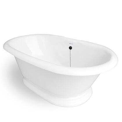 American Bath Factory T120A- Heritage Bathtub No Faucet Holes, Pre-Drilled Overflow and Drain Holes, Waste & Overflow Included: