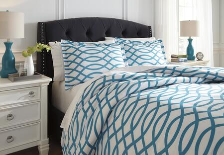 Milo Italia Marlys Collection C21303TM 3 PC Size Duvet Cover Set includes 1 Duvet Cover and 2 Standard Shams with Geometric Design and Polyester Material in Turquoise Color