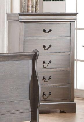 "Acme Furniture Louis Philippe III Collection 32"" Chest with 5 Drawers, Brushed Nickel Metal Handle, Solid Pine Wood and Gum Veneer Materials in"