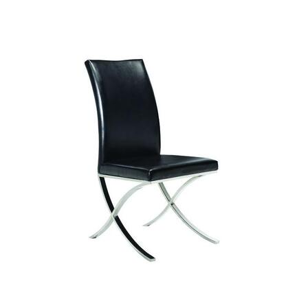 Allan Copley Designs E21202602 mma Set of Two Dining Chairs With Polished Stainless Steel Frame