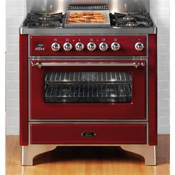 "Ilve Majestic Series UM90FMPX 36"" Freestanding Dual Fuel Range with 4 Burners, 2.8 cu. ft. Primary Oven Capacity, Convection Oven, Defrost Function, Quick Start, & Chrome Trim, in"