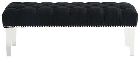 """EdgeMod Jordana Collection 48.23"""" Bench with Hand Applied Nail Head Trim, Transparent Acrylic Legs, Polyurethane Foam and Fabric Upholstery in"""