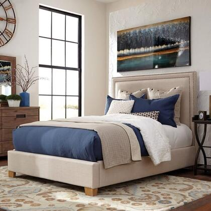 Donny Osmond Home Madeleine II Collection Panel Bed with Double Nailhead Trim, Tapered Legs, Solid Hardwood Construction and Fabric Upholstery in Beige Color