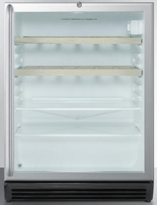 """Summit SCR600BLCSSRX 24"""" Commercially Approved Compact Beverage Center with 5.5 cu. ft. Capacity, 2 Adjustable Glass Shelves, 2 Wine Racks, Automatic Defrost, and Lock, in Stainless Steel"""