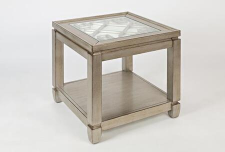 Jofran Casa Bella Collection 15XX-3 24  End Table with 3mm Mirror, Intricate Inlay, and 6mm Tempered Glass Top, in XX