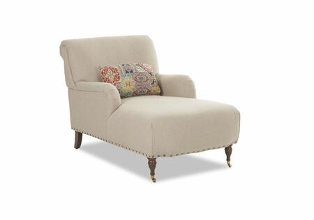 "Klaussner Dapper Collection 2010-CHASE 63"" Chaise with Rolled High Back, Accent Pillow and Nail Head Trim in"