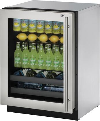 "U-Line U3024BEVx 24"" Modular 3000 Series Beverage Center with 4.9 cu. ft. Capacity, Convection Cooling System, U-Select Control, and Triple Thermopane Glass Door, in"