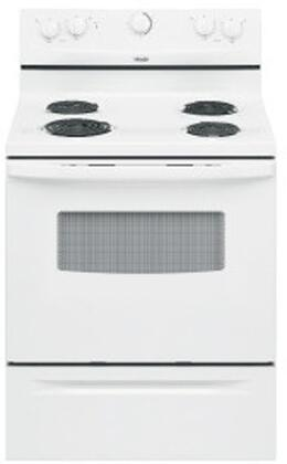 "Whirlpool RF111PXSQ 30"" Electric Freestanding Range with Coil Element Cooktop, 4.8 cu. ft. Primary Oven Capacity, Storage in White"
