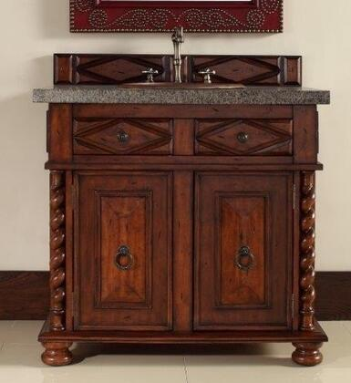 "James Martin Continental 36"" Single Vanity with 2 Doors, 2 Drawers, 1 Sink Included, Antique Brass Hardware, Granite Top, Cherry and Birch Materials in Burnished Cherry Finish"