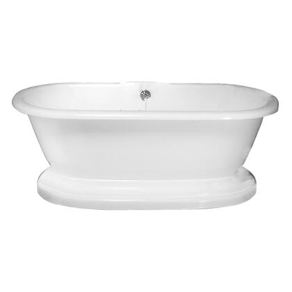 "Barclay ATDR63B Carlotta 63"" Acrylic Double Roll Top Soaking Tub, with White Tub Finish, Overflow, with Moulded Pedestal Base in White Finish,"