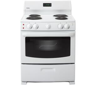 Danby DER3099W  Electric Freestanding Range with Coil Element Cooktop, 4.3 cu. ft. Primary Oven Capacity, Storage in White