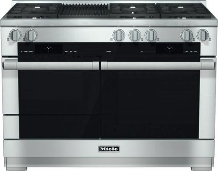 """Miele HR1955D 48"""" Pro-Style Dual Fuel Range with 6 Sealed M Pro Dual Stacked Burners, M Pro Grill, TwinPower Convection Fan Oven, Self-Clean, 21 Operating Modes, Warming Drawer, and ComfortSwivel Handle in"""