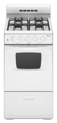 """Amana AGG200AAW 20"""" Gas Freestanding Range with Sealed Burner Cooktop, 2.6 cu. ft. Primary Oven Capacity, Broiler in White"""