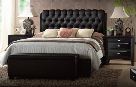 Acme Furniture 143DSX Ireland Platform Bed with Button Tufted Headboard, Tapered Legs, Faux Leather Upholstery, Hardwood Solids and Veneers in Black