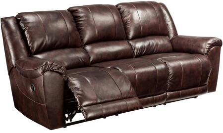 "Milo Italia Bryson MI-1551TMP 91"" Leather Match Reclining Sofa with Padded Arms, Split Back Design and Jumbo Stitching Details in Walnut Color"