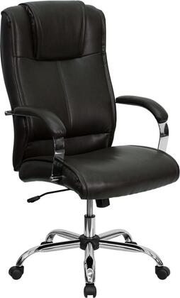 "Flash Furniture BT-9080-XX-GG 19.25"" High Back Leather Executive Office Chair with Integrated Headrest, Chrome Finished Base, Pneumatic Seat Height Adjustment, and Dual Wheel Casters"