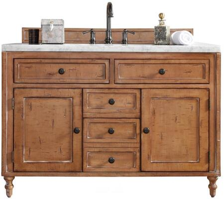 "James Martin Copper Cove Collection 300-V48-DRP- 48"" Driftwood Patina Single Vanity with Four Soft Close Drawers, Two Soft Close Doors, Hand Carved Turned Legs, Hand Distressing and"