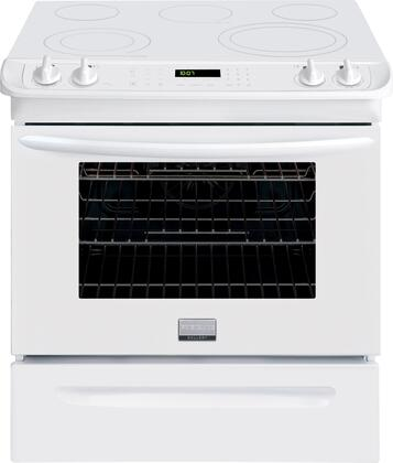 "Frigidaire FGES3065PW 30"" Gallery Series White Slide-in Electric Range with Smoothtop Cooktop, 4.6 cu. ft. Primary Oven Capacity, Storage"